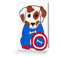 Puppy Dog America - Animal Superhero Greeting Card