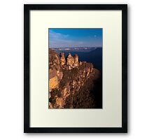 Three Sisters at sunset, Blue Mountains, Australia Framed Print