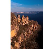 Three Sisters at sunset, Blue Mountains, Australia Photographic Print