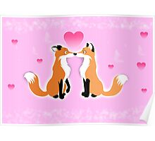 Valentines Day Foxes Poster
