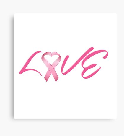 Love Pink Breast Cancer Ribbon Canvas Print
