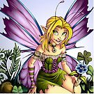 Clover Fairy Throw Pillow by cybercat