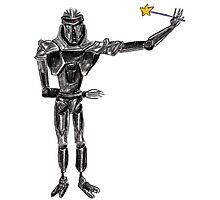 Cute Cylon with a Wand Photographic Print