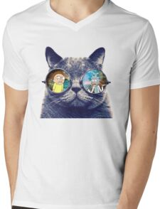 Rick and Morty Cat Mens V-Neck T-Shirt