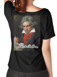 Ludwig van Beethoven, German composer and pianist. Portrait, on Black Women's Relaxed Fit T-Shirt