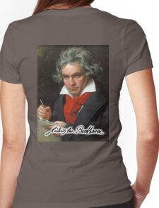 Ludwig van Beethoven, German composer and pianist. Portrait, on Black Womens Fitted T-Shirt