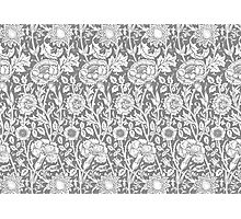 William Morris Carnations | Grey and White Floral Pattern Photographic Print