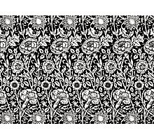 William Morris Carnations | Black and White Floral Pattern Photographic Print