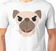 Pug Dog Emoji Angry and Mad Look Unisex T-Shirt