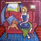 Sitting with an Airedale Terrier by Marie Theron