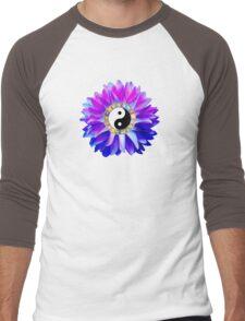 Yin Yang Blue Dahlia Flower Men's Baseball ¾ T-Shirt