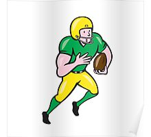 American Football Receiver Running Ball Cartoon Poster