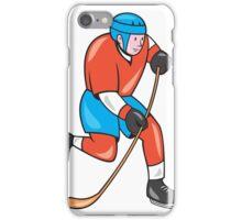 Ice Hockey Player With Stick Cartoon iPhone Case/Skin