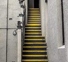 Yellow Striped Stairs by studio26design