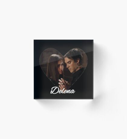Delena Heart with Script - Elena & Damon - The Vampire Diaries - (Designs4You) Acrylic Block