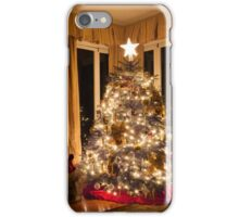 Christmas tree and stone fireplace iPhone Case/Skin