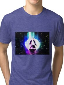 Colorful background with 3d man Tri-blend T-Shirt