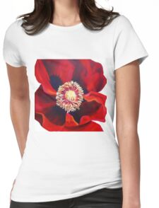 Big Red Poppy Womens Fitted T-Shirt