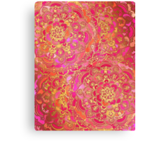 Hot Pink and Gold Baroque Floral Pattern Canvas Print