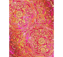 Hot Pink and Gold Baroque Floral Pattern Photographic Print