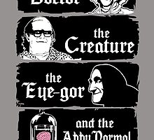 The doctor, the creature, the eye-gor and the abby normal by CarloJ1956