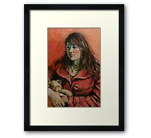 'Georgie: a study in red' 2011 Oil on canvas Framed Print