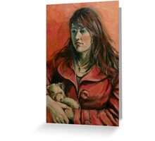 'Georgie: a study in red' 2011 Oil on canvas Greeting Card