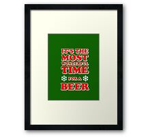 ITS THE MOST WONDERFUL TIME FOR A BEER, MERRY CHRISTMAS Framed Print