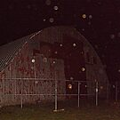 Old Red Barn and Irridescent Orbs, Wagner Farm, Halloween Night by Jane Neill-Hancock