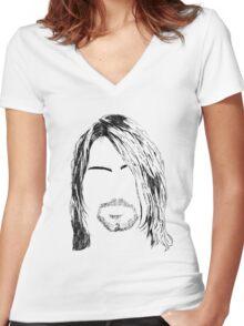 Kurt Cobain Women's Fitted V-Neck T-Shirt