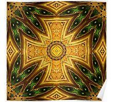 Maltese-Celtic Combo Stained-Glass Window Mandala Poster