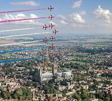 Red Arrows over Lincoln smoke on by Gary Eason + Flight Artworks