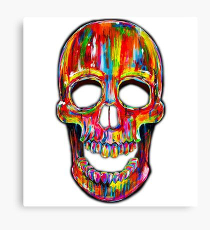 Skull, Colorful Skull , Skeleton , Color Art, Scary Canvas Print