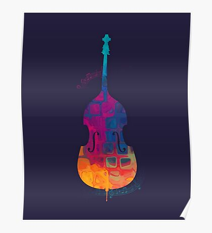 Double Bass Color Poster