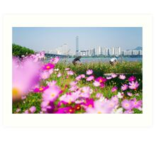 Cyclists and Cosmos by the Han River, Seoul Art Print