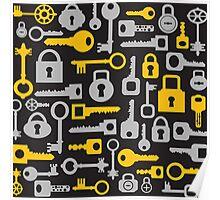 Keys and locks on a black Poster