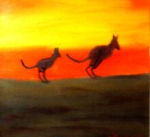 Roos @ Sunset, Australia.  by C J Lewis
