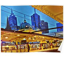 flinders street station, early morning, melbourne Poster
