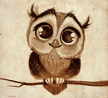 Doodles by David Kawena - Owl  by David Kawena