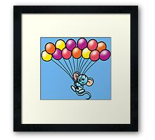 HeinyR- Blue Mouse with Balloons Framed Print