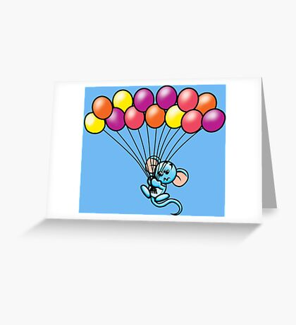 HeinyR- Blue Mouse with Balloons Greeting Card