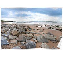 desolate rocky beal beach Poster
