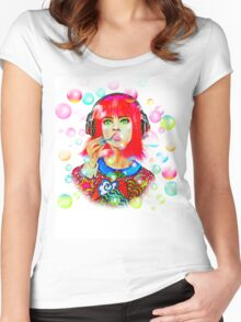 Psychedelic Bubbles Women's Fitted Scoop T-Shirt