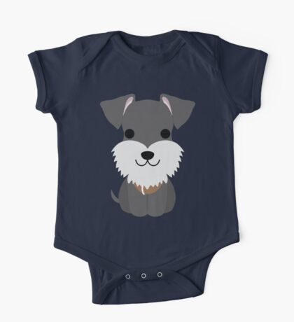 Schnauzer Dog Emoji Happy Smiling Face One Piece - Short Sleeve