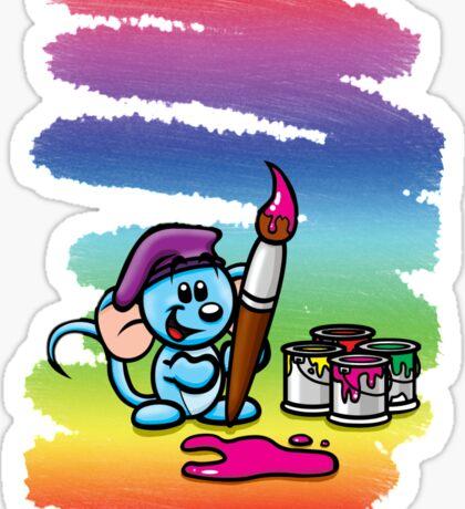 HeinyR- Blue Mouse Painter Sticker