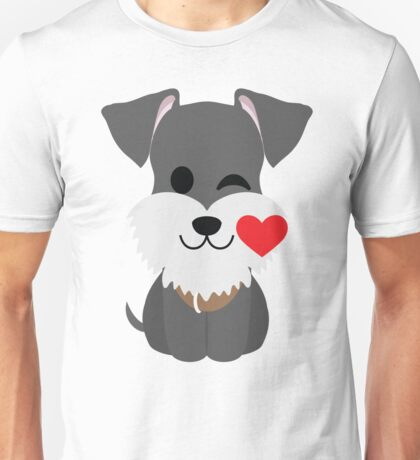 Schnauzer Dog Emoji Flirting and Blowing Kiss Unisex T-Shirt