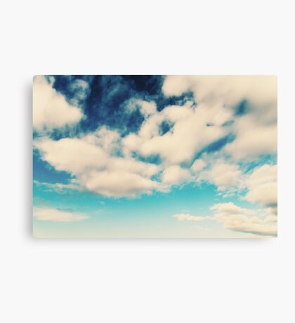 White Soft Clouds On Blue Turquoise Sky Canvas Print