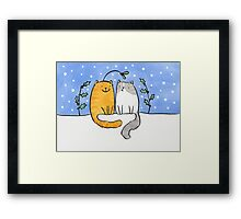 Christmas Cats and a Mistletoe Hat Framed Print