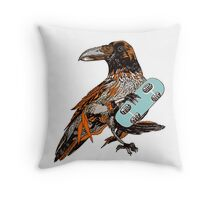 Crow boarding Throw Pillow