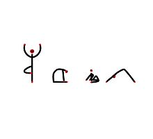 Stick figure of yoga poses spelling YOGA. by Mindful-Designs